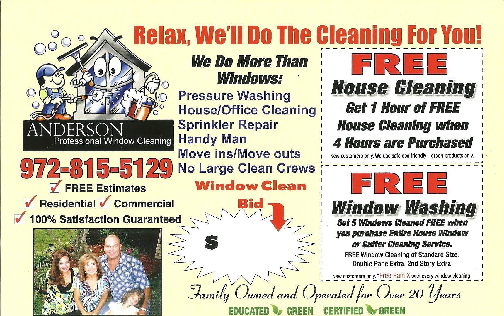 coupon anderson professional window cleaning and handyman coupon flyer